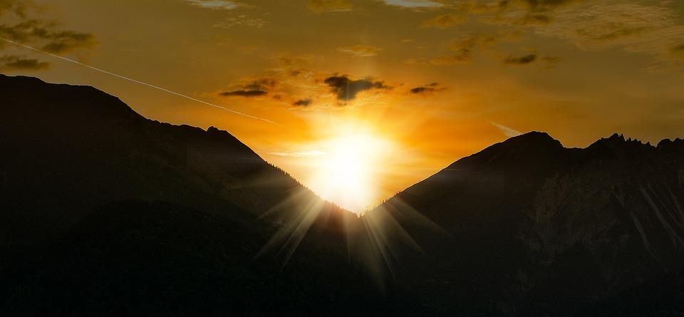 Sunrise, Sky, Mountains, Mountain Peaks, Sun, Lighting