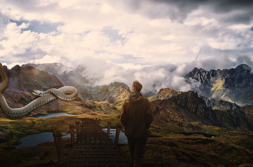 Snake, Devil, Mountains, Man, Bridge, Clouds, Fantasy