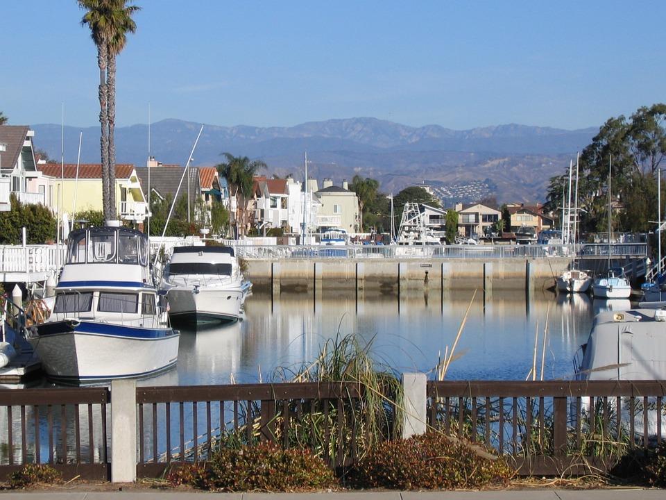 Oxnard, California, Marina, Boats, Mountains, Distance