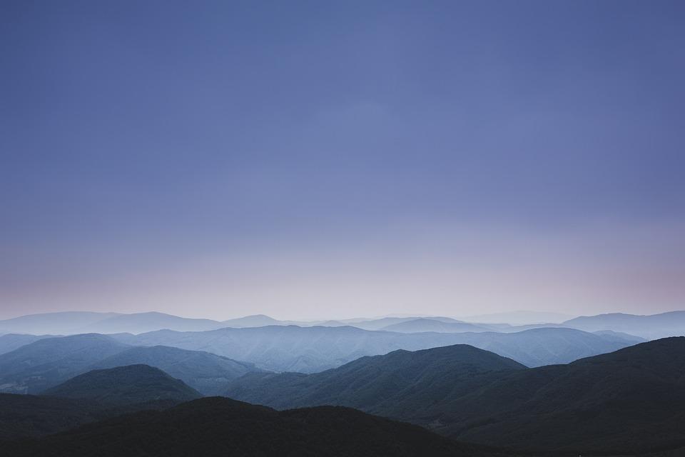 Mountains, Blue, Sky, Minimal