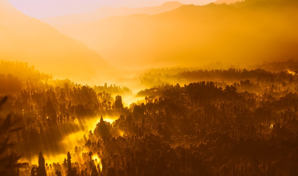 Sunrise, Morning, Sunlight, Indonesia, Mountains
