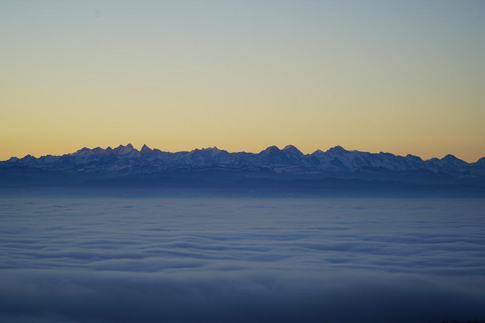 Alpine, Mountains, Alps, Mountain Range, Fog