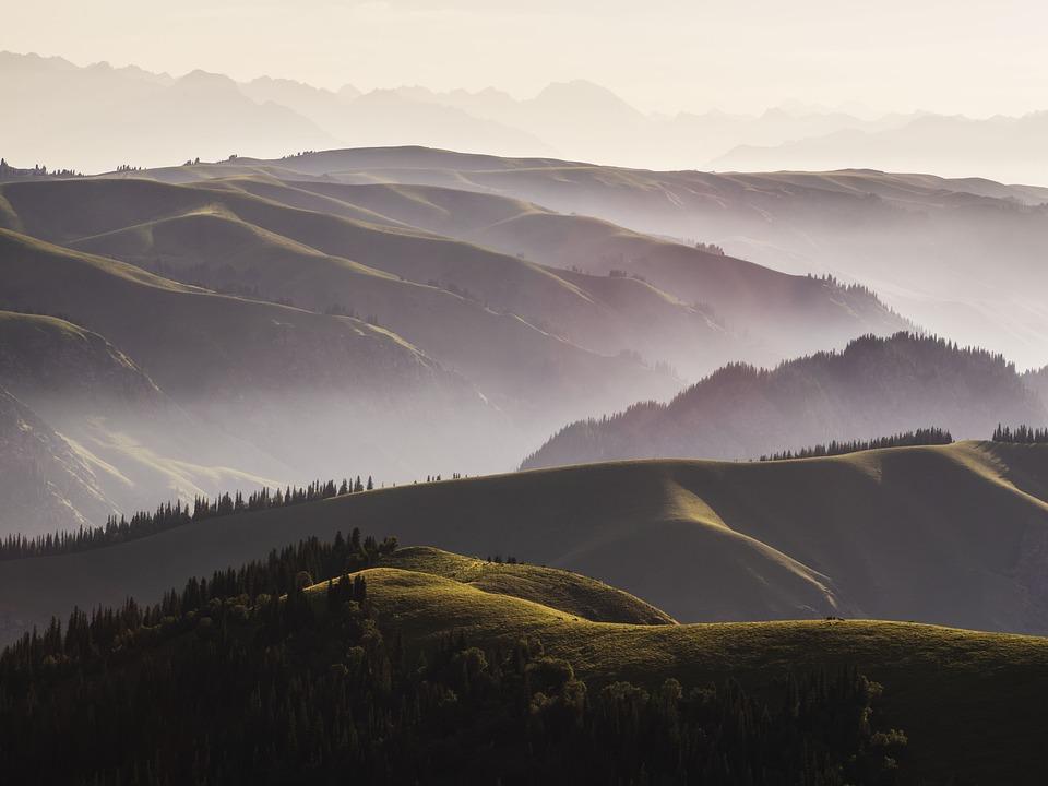 Mountains, Hills, Mountain Range, Fog, Haze, Mist