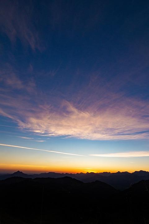 Sunrise, Mountains, Silhouette, Sky, Mountain Range