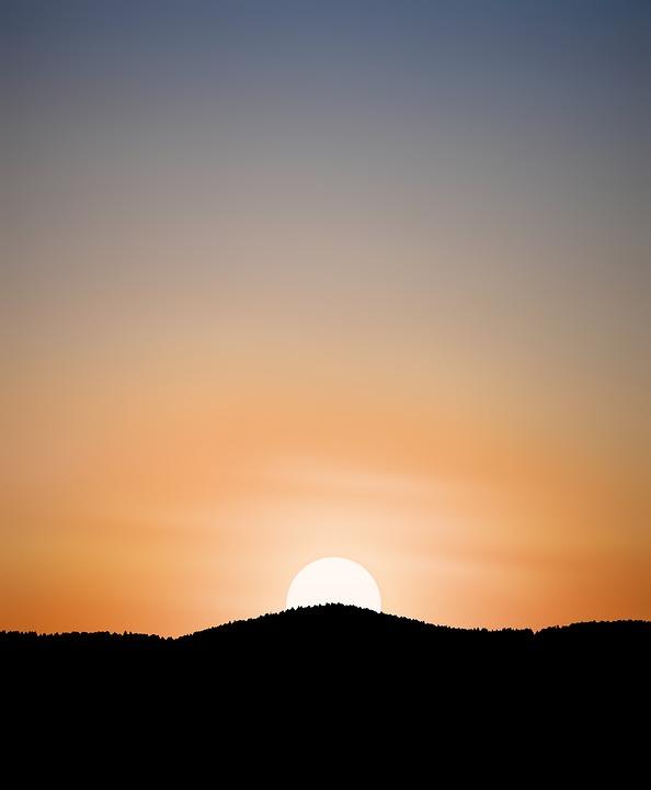 Silhouette, Sunset, Mountains, Mountain Range, Sun
