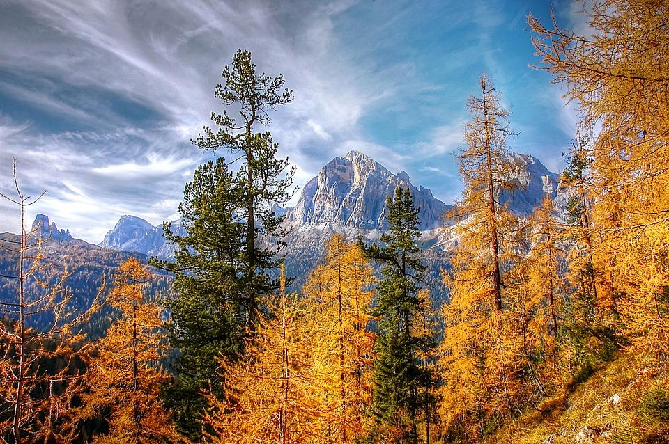 Autumn, Dolomites, Landscape, Nature, Mountains, Sky