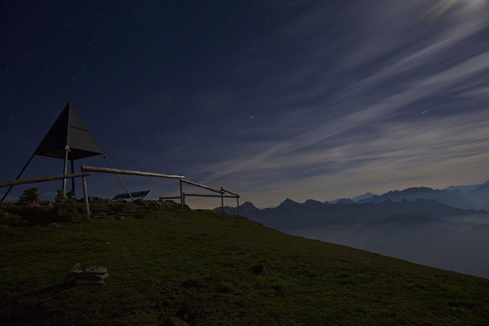 Night, Mountains, Moonlight, Nature, Mood