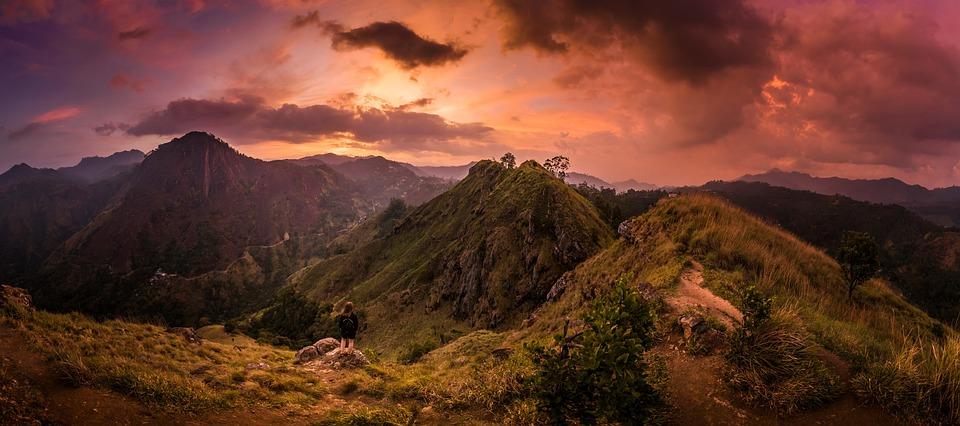 Mountains, Sunset, Panorama, Mountaineer
