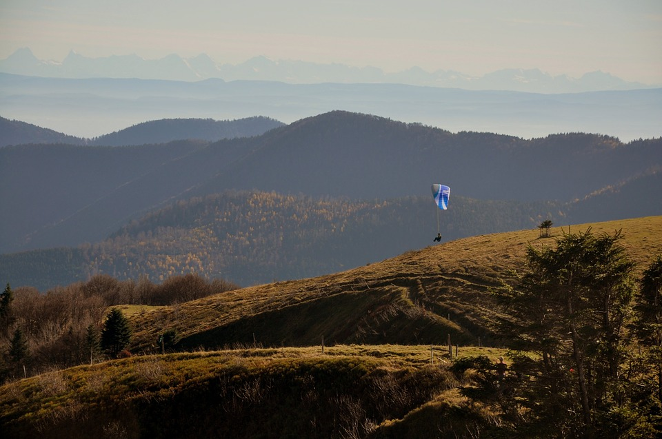 Vosges, Paragliding, Fall, Mountains, France