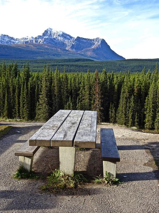Bench, Mountains, Perspective, Forest, Landscape