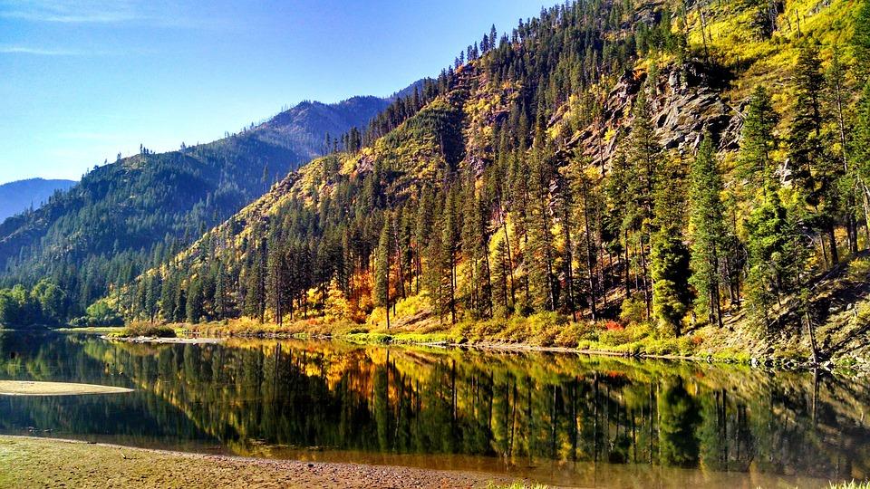 Water, Washington State, Reflection, Mountains, Fall