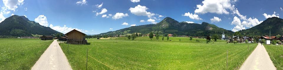 Allgäu, Panorama, Reported, Trees, Hut, Mountains, Sky