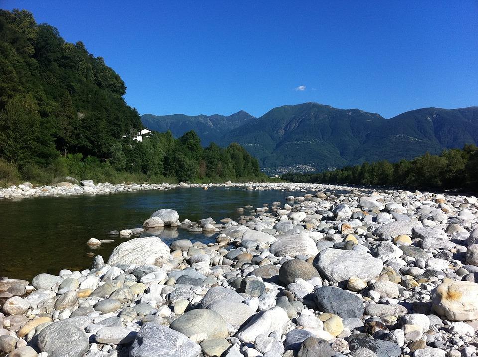 Ticino, River, Stones, Mountains, Alpine