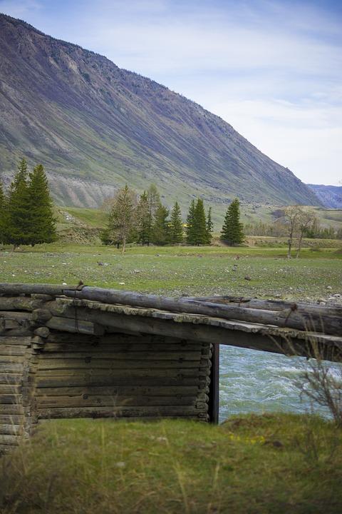 Mountains, Wooden Bridge, River, Nature, Travel