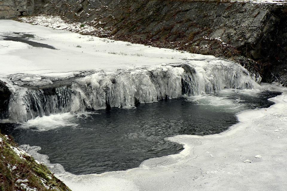 Winter, Snow, Ice, River, Waterfall, Mountains, Nature