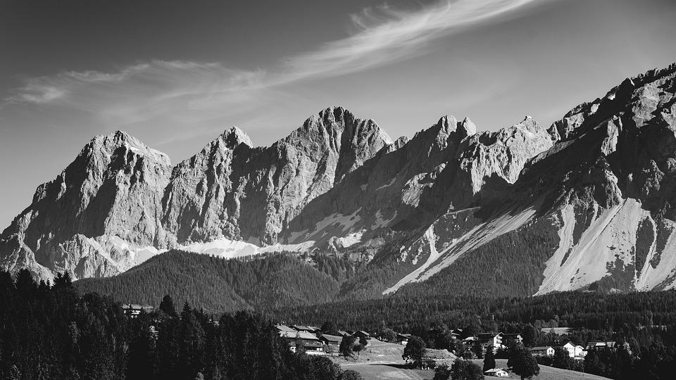Alpine, Mountains, Rock, South Wall, Snow, Panorama