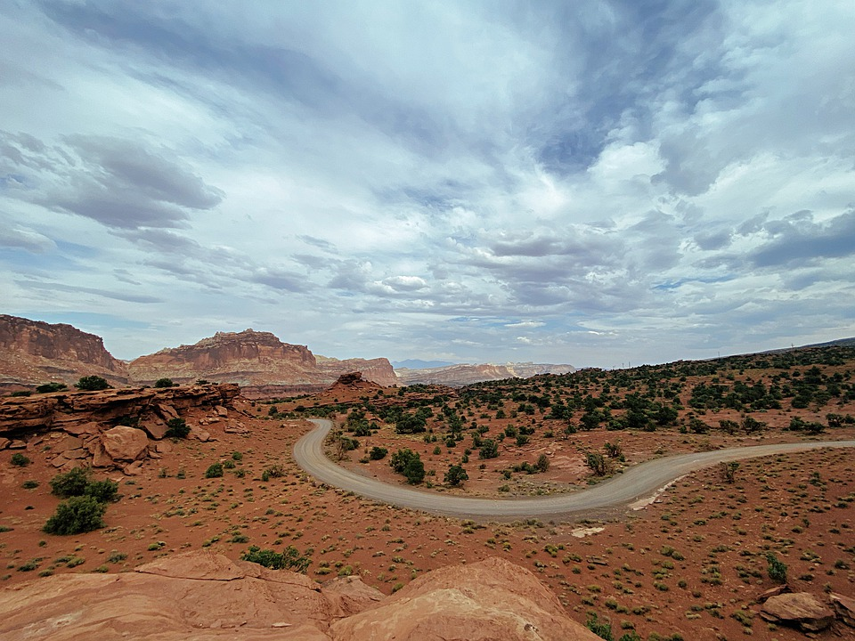 Road, Desert, Dry, Rocks, Stone, Mountains, Reef, Arch