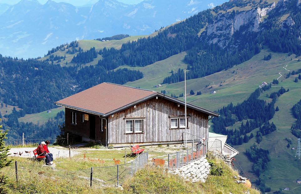 Mountains, Mountain Hut, View, Tourists, Romantic
