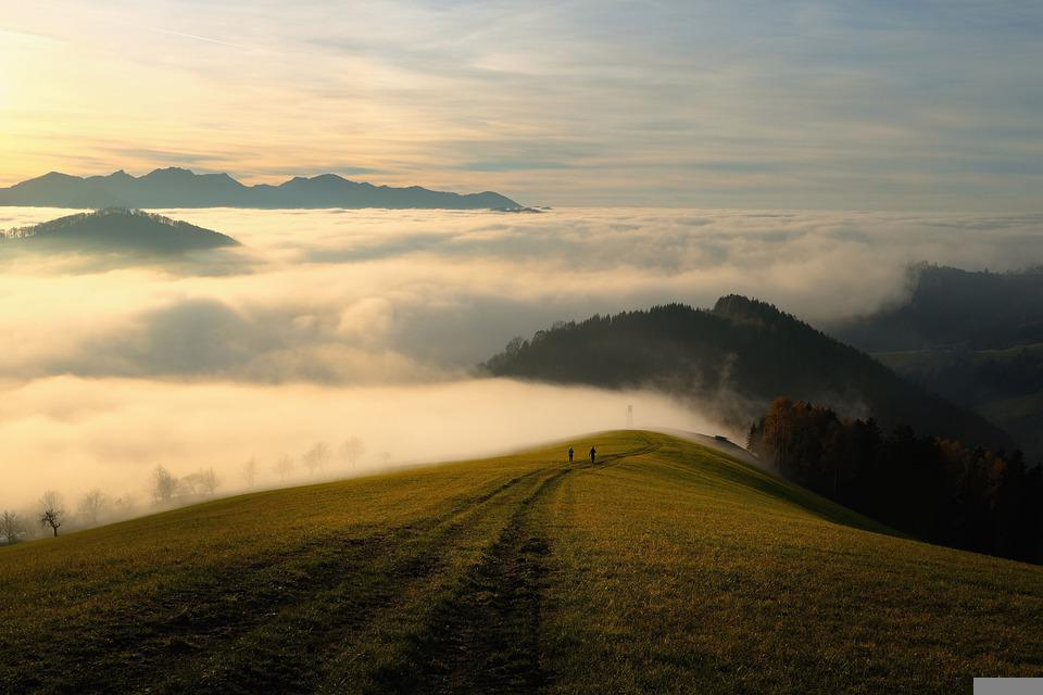 Mountains, Fog, Sky, Clouds, Sea Of Clouds, Hills