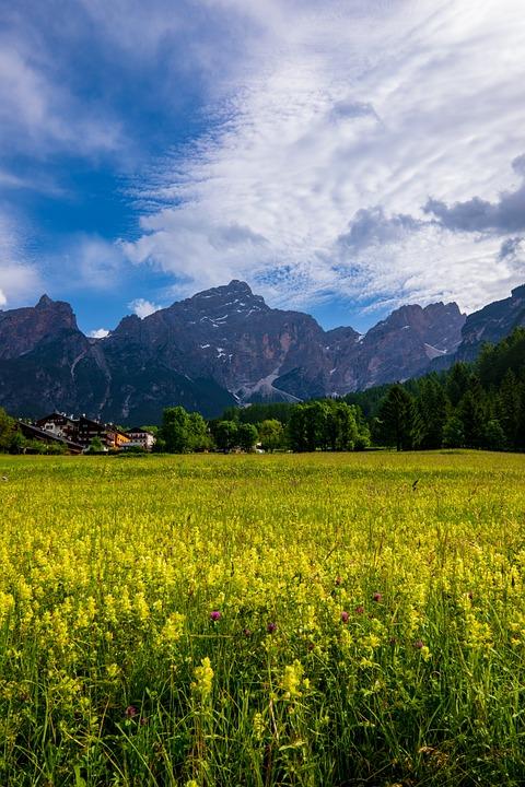 Cortina, Alpine, Italy, Veneto, Mountains, Sky, Clouds