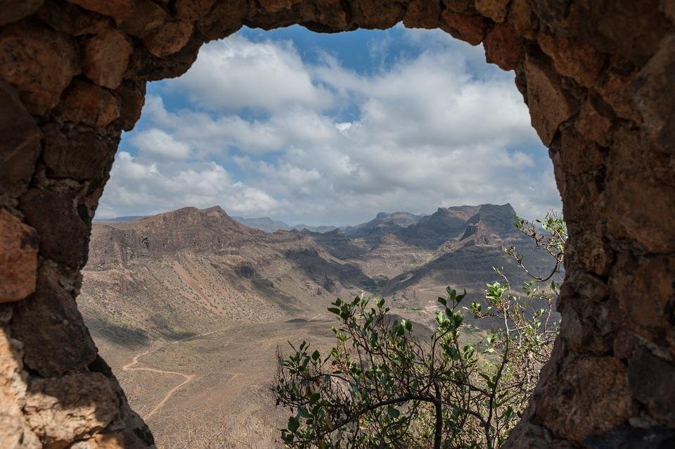 Mountains, Hole, Clouds, Sky, Rock, Destination