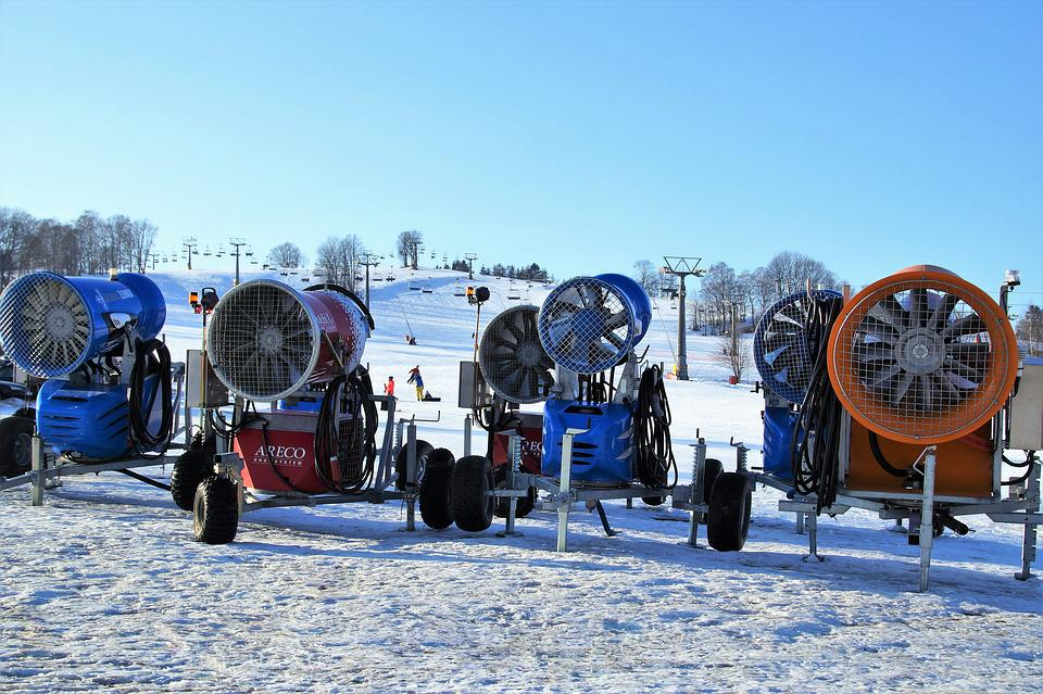 Snow Cannons, Snow, Mountains, Winter, The Ski Slope