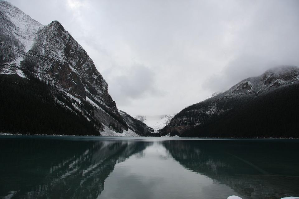 Lake, Canada, Cabin, Mountains, Winter, Snow, Scenery
