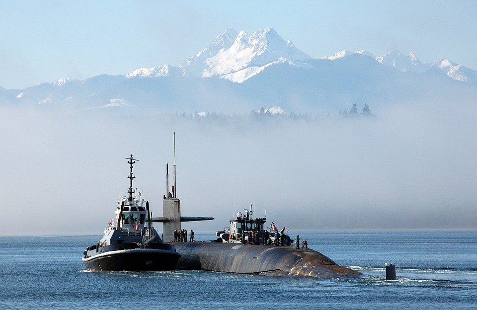 Submarine, Bangor, Washington, Mountains, Snow, Sea