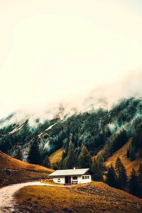 Cottage, House, Home, Sunrise, Fog, Snow, Mountains