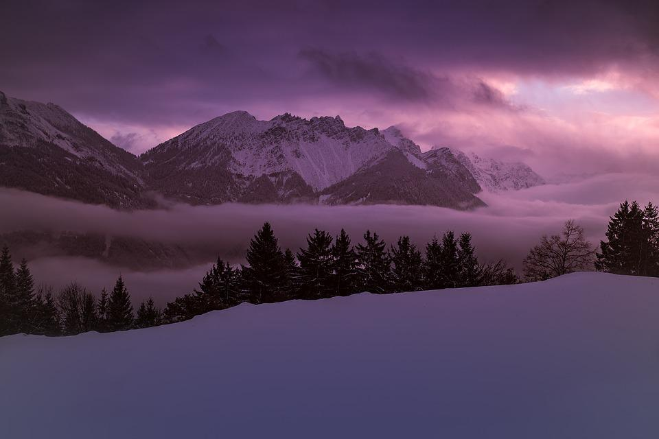 Winter, Wintry, Snowy, Mountains, Mountain Peaks, Fog