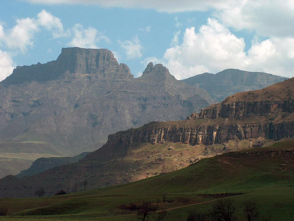 Drakensburg, South Africa, Mountains, Clouds, Landscape