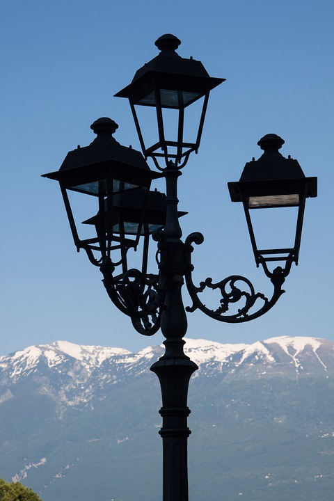 Lantern, Street Lamp, Mountains, Snow, Sky, Landscape