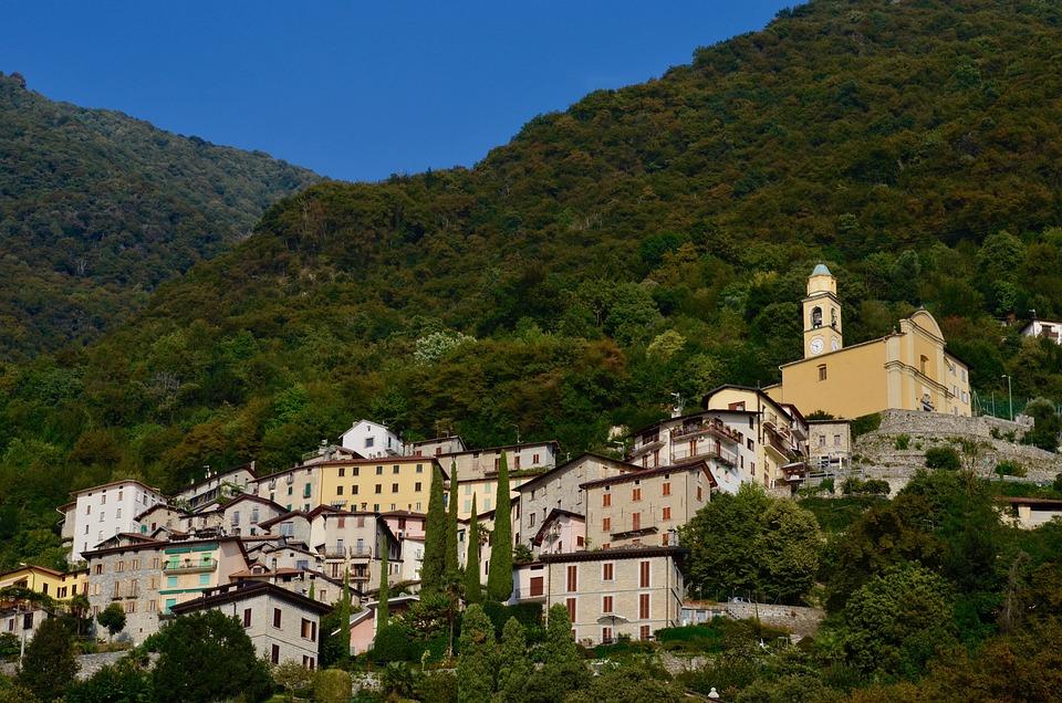 Italy, Lago Di Como, Bergdorf, Summer, Mountains