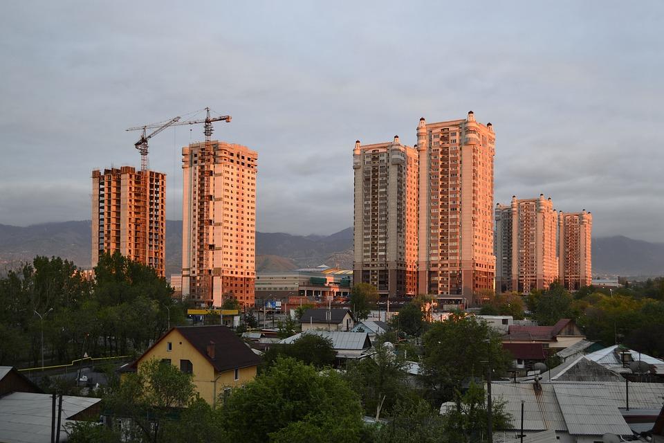 Construction, Sunset Almaty, Kazakhstan, Mountains
