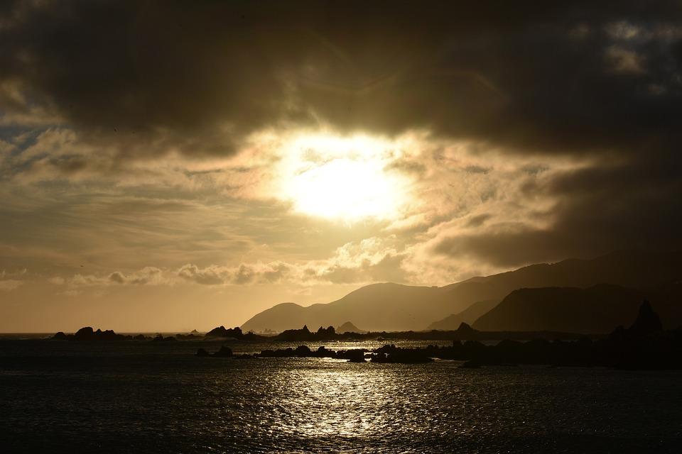 Sunset, Sun, Sea, Coast, Mountains, Horizon, Orange