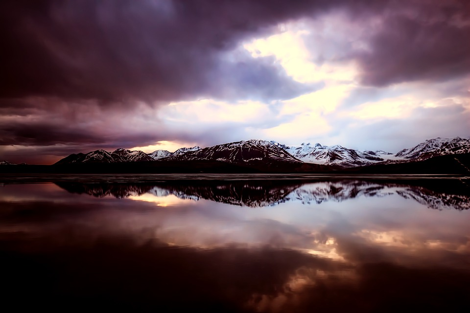 Mountains, Snow, Lake, Sea, Ocean, Reflections, Sunset