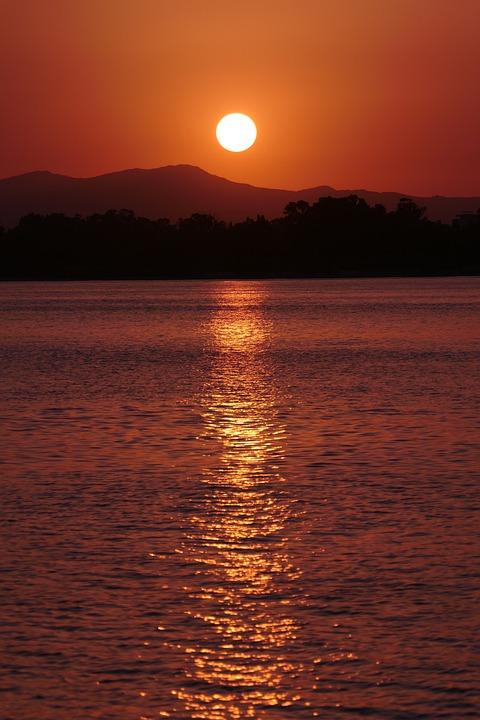Sunset, Sea, Sky, Orange, Mountains, Landscape, Beach