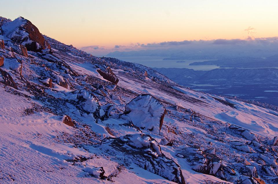 Winter, Mountains, Sunset, Evening, Snow, Landscape