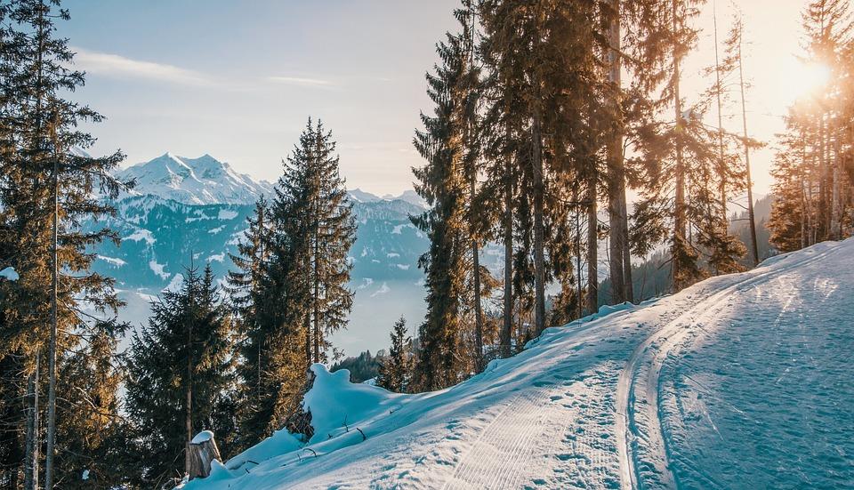 Mountains, Winter, Abendstimmung, Light, Sun, Sunset