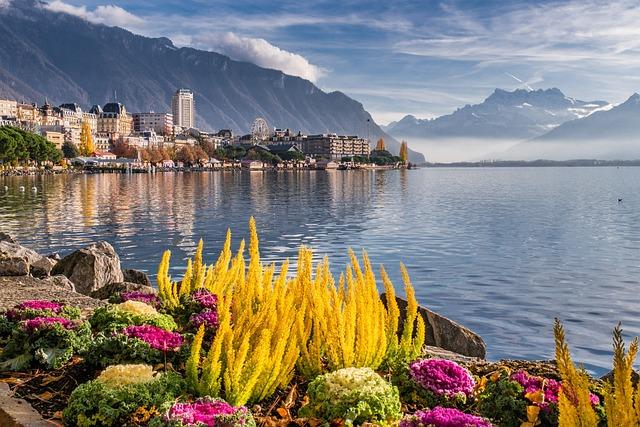 Lake, Mountains, Landscape, Montreux, Switzerland