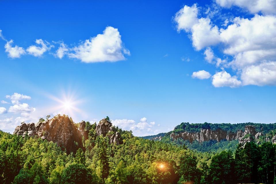 Landscape, Mountains, Rock, Forest, Trees, Sun