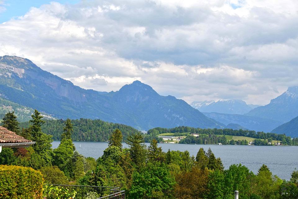 Mountains, Lake, Meggen, Trees, Clouds, Sky