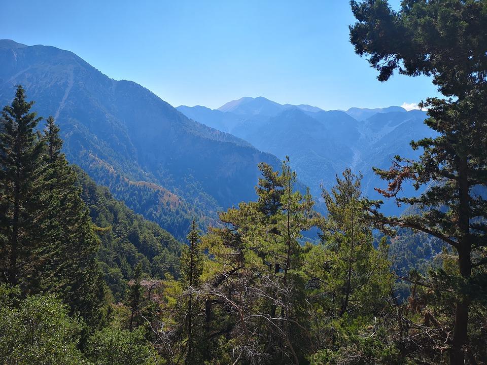 Mountains, Sky, Trees, Mountain Ranges