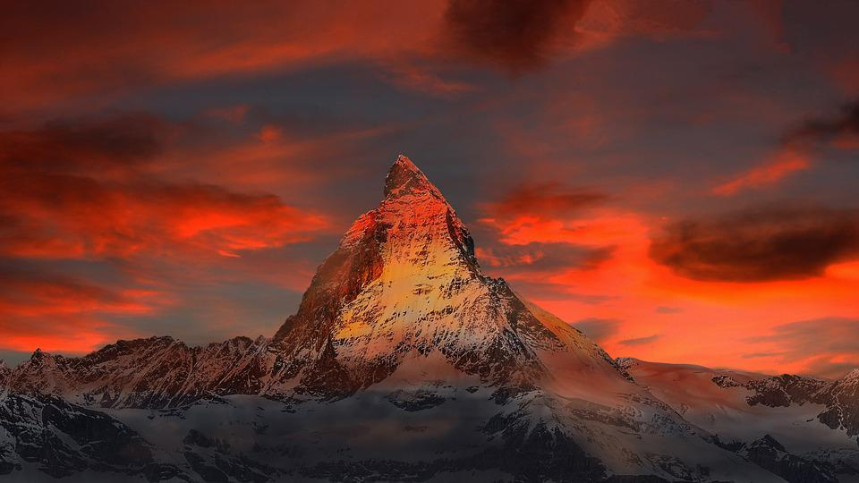 Mountains, Snow, Sunset, Dusk, Twilight, Peak, Summit