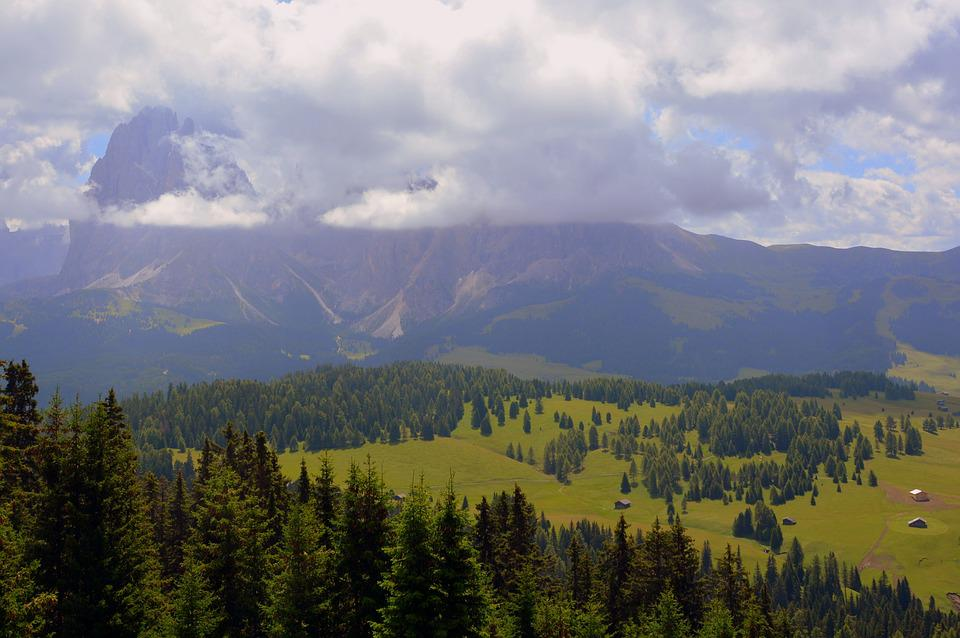 Mountains, Prato, Valle, Green, Trees, Clouds