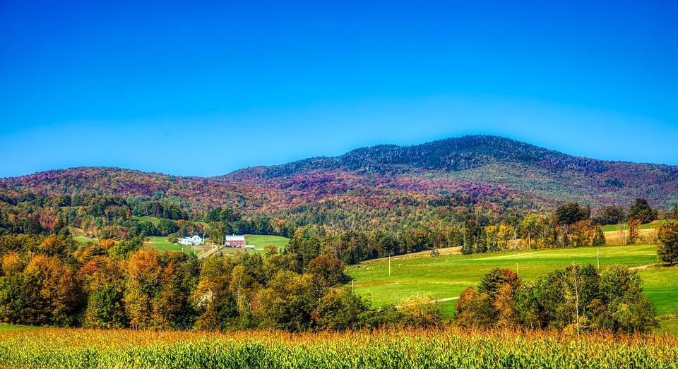 Vermont, New England, America, Mountains, Hills, Fall