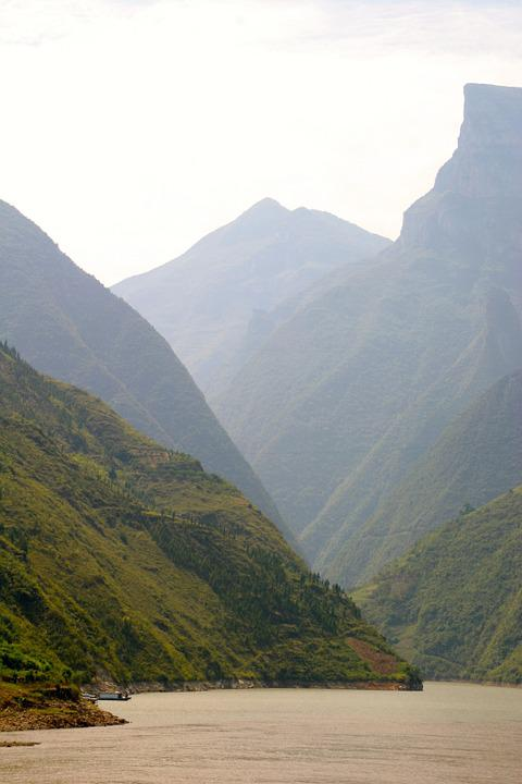 River, Gorge, Canyon, Rock, Water, Landscape, Mountains