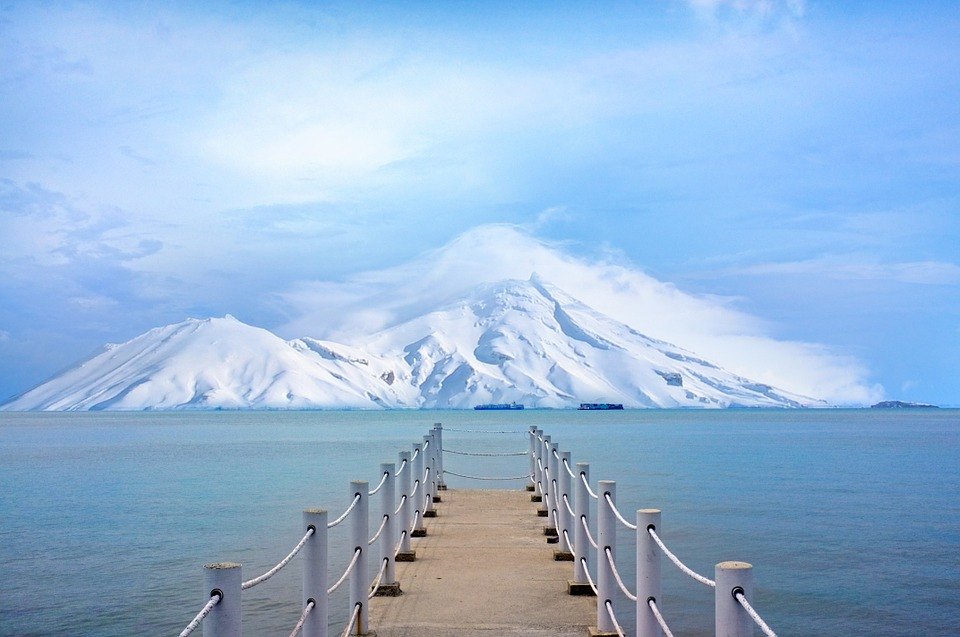 Pier, Dock, Ocean, Sea, Lake, Water, Mountains, Snow