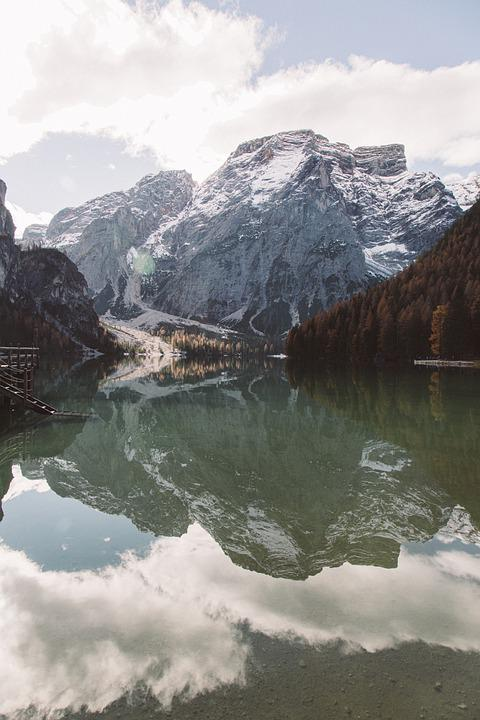 Mountains, Lake, Snow, Reflection, Water