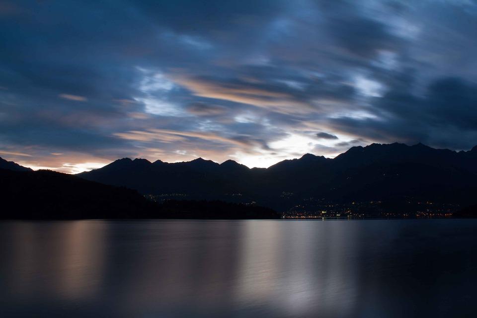 Lake, Clouds, Sunset, Water, Mountains